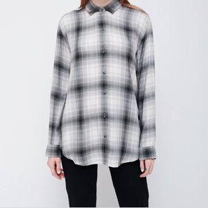 Obey Sky Plaid Button Down Shirt Grey